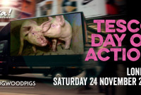 Video Van Broadcasts Tesco Pig Cruelty Outside Flagship Stores in London